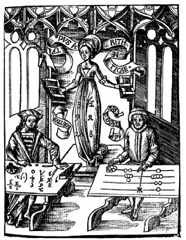 Figure 11: The Allegory of Arithmetic. The abacist uses the abacus; the algorist is involved in formulae