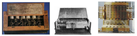 Figure 13: The Pascaline, Leibniz's machine, Schickard's calculating clock
