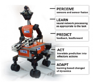 Fig. 22 Interaction is the main characteristic of robots. The robot displayed serves only as an illustration. It is a mobile manipulation robot, Momaro, designed to meet the requirements of the DARPA Robotics Challenge. It consists of an anthropomorphic upper body on a flexible hybrid mobile base. It was an entry from the Bonn University team NimbRo Rescue, qualified to participate in the DARPA Robotics Challenge taking place from June 5–6, 2015 at Fairplex, in Pomona, California