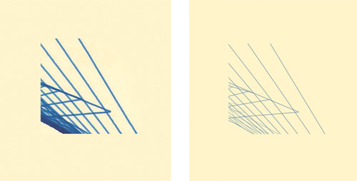 Fig. 6. Conversion from original print (of raster images) to vector lines. (© Mihai Nadin)