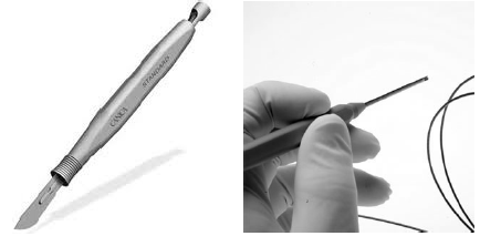 Figure 3: From the scalpel to the bendable laser scalpel