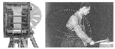 Fig. 2 Kymocyclograph conceived by Bernstein (1928) and hammering worker. Left: Kymocyclograph, Right: hammering worker