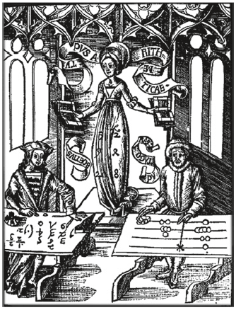 Fig. 12 The Allegory of Arithmetic. The abacist uses the abacus; the algorist is involved in formulae