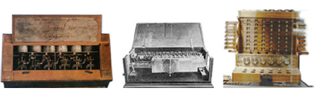 Fig. 14 The Pascaline, Leibniz's machine, Schickard's calculating clock