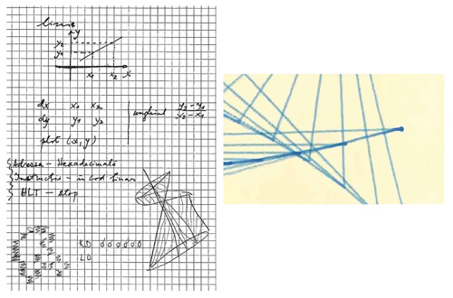 "Fig. 2. My ""algorithm"" for line drawing; discrete points making up a line on paper (unintentional ""dripping effect"")  (© Mihai Nadin)"